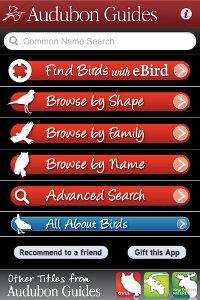 Main screen from the Audubon Birds iPhone app