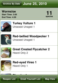 Archived list in the Birdcountr iPhone app