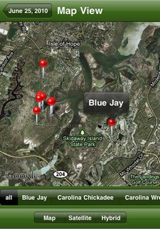 Map view of a list in the Birdcountr iPhone app