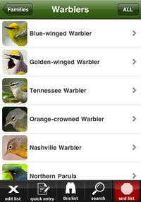 Species list from the Birdcountr iPhone app