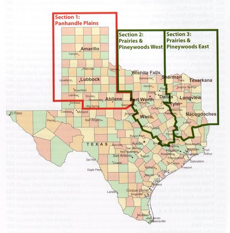 Region covered by Birding Trails: Texas: Panhandle and Prairies & Pineywoods