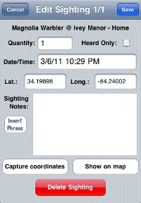 Species entry screen from the Birdwatcher's Diary iPhone app