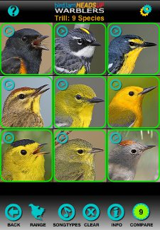 Comparison view from HeadsUp Warblers iPhone app