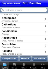 Family list from the My Bird Observations iPhone app