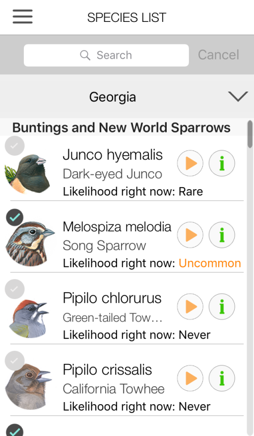 Song Sleuth species list